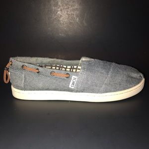 Toms Chambray Denim Bimini Canvas Flats Size 3